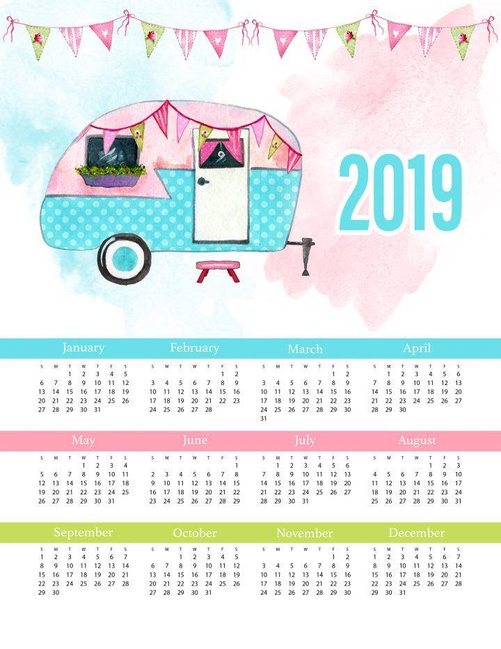Free Printable 2019 Glamping One Page Calendar Printable