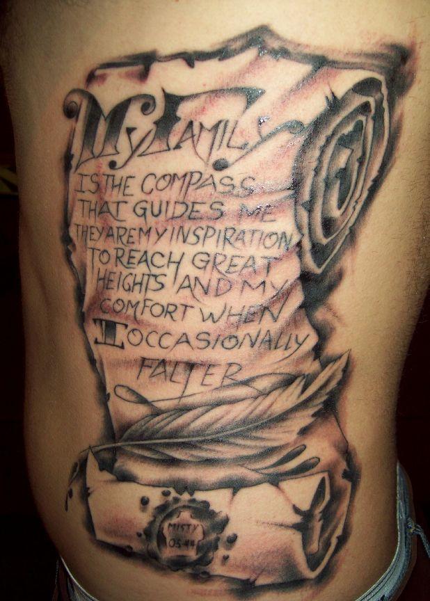 family scroll , on ribs . by ErikVanKobra