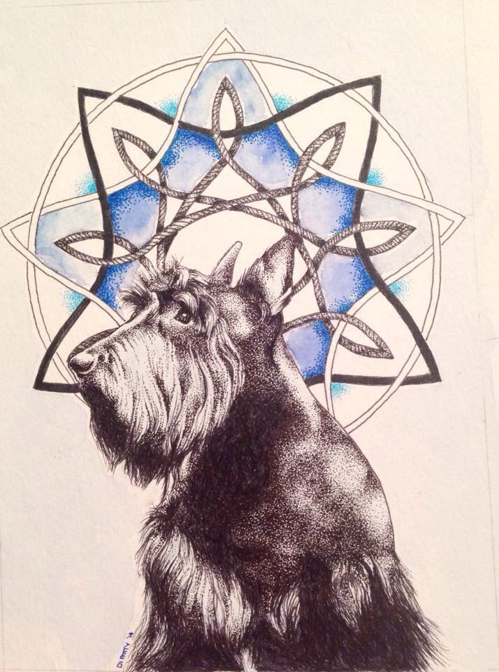 PAWtrait - Pen and ink with Watercolour by Di Paterson (2014), Scottie, Pet dog, Mandala, Dotwork, Scottish Terrier, Daler Rowney Watercolor Paints, The Artful Fox, The Hellfire Club www.facebook.com/Artfulfox1