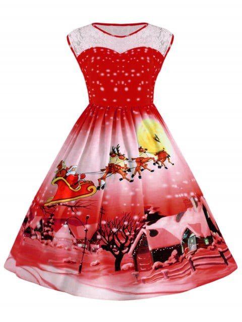 e146d669353 Womens Plus Size Lace Panel Christmas Snow Vintage Ball Dress - RED.   affiliatelink  ad  women  Christmas  dress  plus  size  fancy  vintage   Santa  party ...