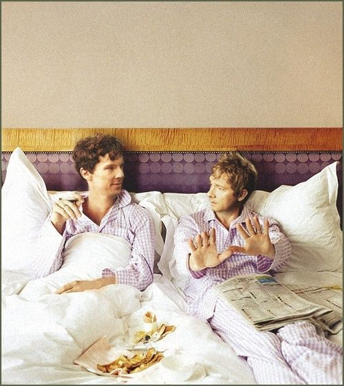 Benedict Cumberbatch and Martin Freeman,having breakfast in bed. In matching purple pajamas. and someonetries to tell me they arent a cute couple