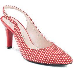Marco shoes  Czółenka 3013-H92  czółenka czerwone w groszki  Marco shoes