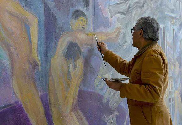 Restauran un mural que refleja lo que se debatía y pensaba en la UAP hace 4 décadas ‹ La Jornada de Oriente – Puebla