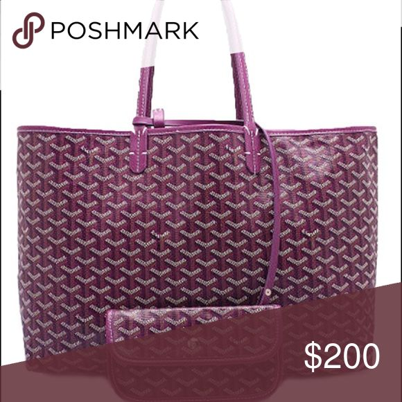 Goyard Purple St Luis Pm Tote with Wallet $200 Inspired Goyard St Luis Tote Pm bag with attached wallet $200 a fraction of the expensive cost of original Goyard $2000, so you choose! Looks identical enjoy this pretty purple shade  Goyard Bags Totes