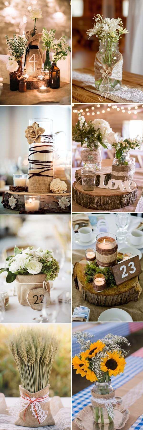 schöne rustikale Hochzeits-Mittelstücke, dekoriert mit Sackleinen
