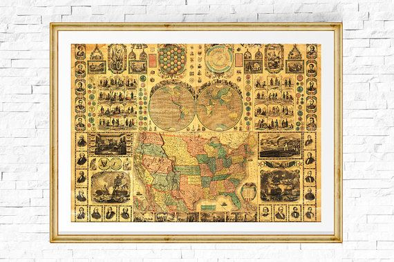 US Map Print Map of USA Vintage Map USA by PeggyCollinsPhotoArt
