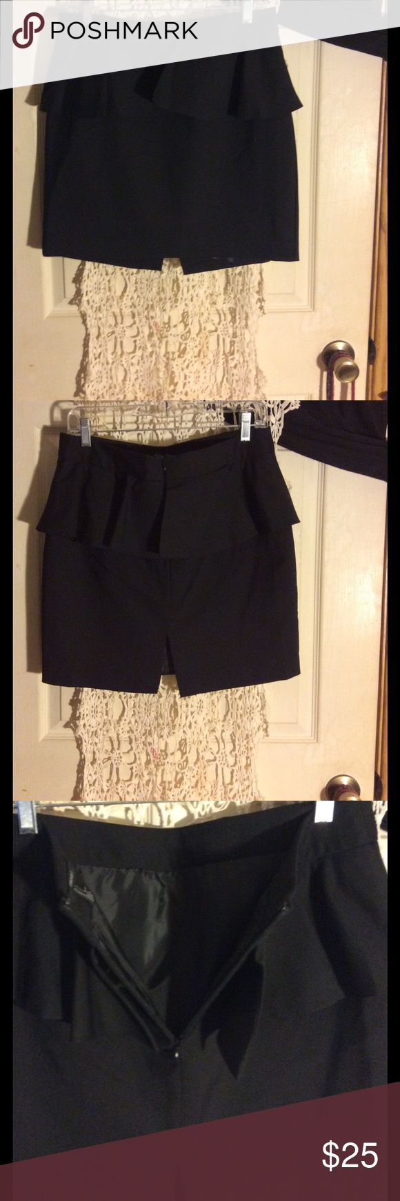 Adorable black peplum skirt In excellent condition. Zips up the back, fully lined. Great skirt!  The zipper is a tiny bit sticky at the top of the skirt. Forever 21 Skirts Mini