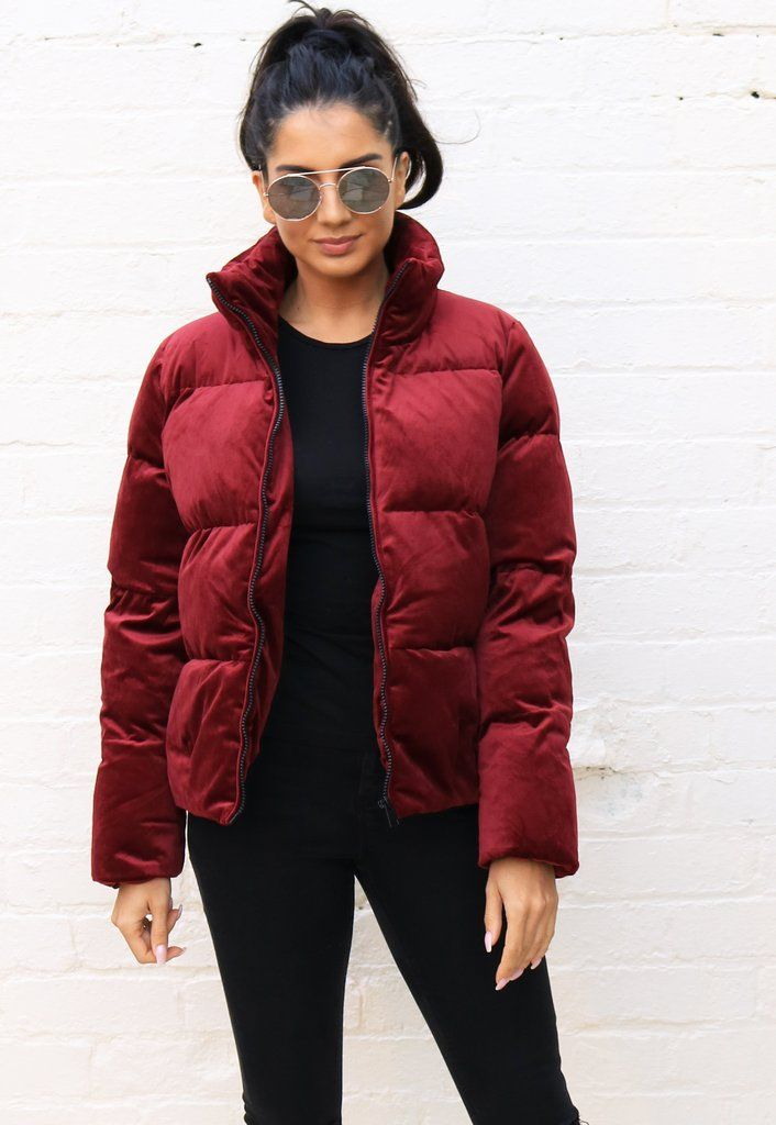 57125745d Boxy Short Padded Velvet Puffer Jacket with Funnel Neck in Burgundy Red - One  Nation Clothing