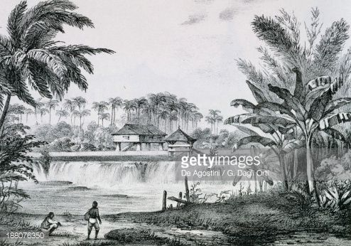 Stockillustraties : Landscape of the island of Cuba, engraving from Picturesque Island of Cuba, by Jose Maria de Andueza (1806-1865), 1841. Greater Antilles, 19th century.