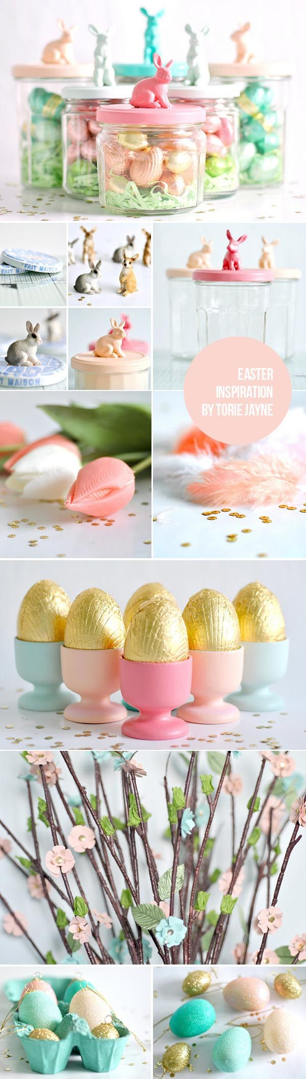 Love the bunny jars!  A little spray paint and some glue… these would be adorable!