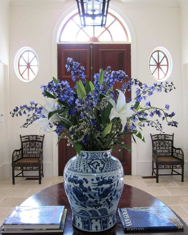 Blue and white flowers and vase
