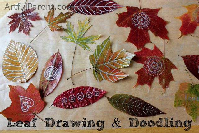 Leaf Drawing and Doodling with Metallic Sharpies (a beautiful and fun autumn activities for kids and adults alike!)
