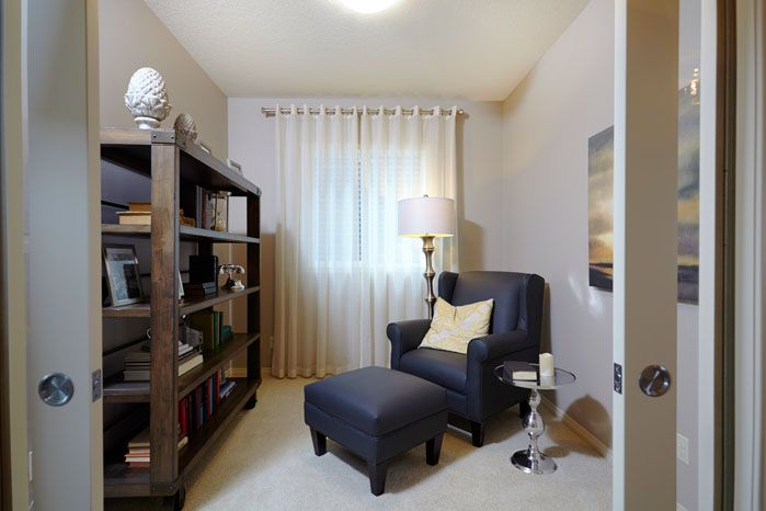 Lifestyle room in the Orion II showhome in King's Heights in Airdrie by Shane Homes.