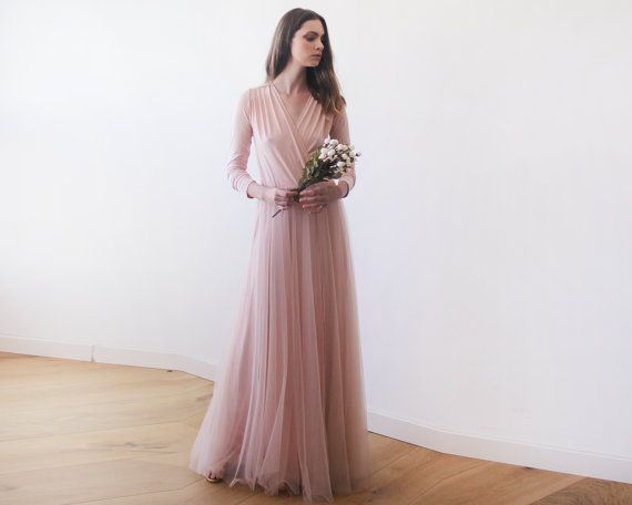 Pink maxi tulle gown with long sleeves , Pink bridesmaids maxi gown