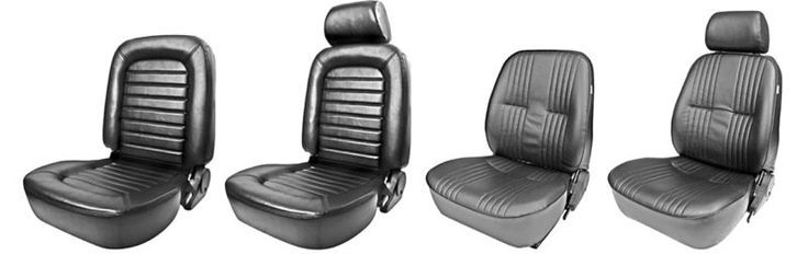 From L to R: the Procar Classic Lowback Sport Seat, Classic Sport Seat, Pro-90 Lowback Sport Seat, and Pro-90 Sport Seat.