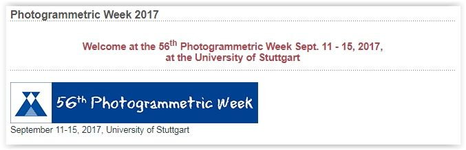 """#geocongress 56th Photogrammetric Week 2017. Stuttgart , Germany. 11 Sep 2017 - 15 Sep 2017. The biennial event Photogrammetric Week (PhoWo) was initiated by Carl Pulfrich as a """"vacation course in photogrammetry"""" in 1909; since 1973 it has been held at the University of Stuttgart. Over the years remote sensing and geoinformatics together with..."""
