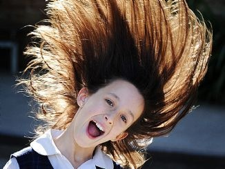 Annabel Deibe, 10, a student at Northern Beaches Christian School, intends to shave her head to raise funds for a school in Uganda. Picture: BRADEN FASTIER
