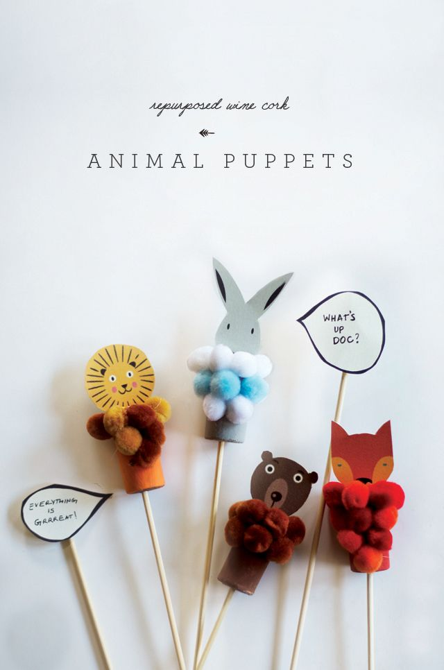 Animal puppets wine cork... Actividades infantiles de Little monster - DecoPeques
