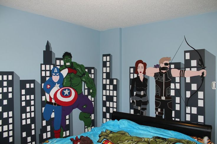 Avenger themed bedroom by on for City themed bedroom ideas