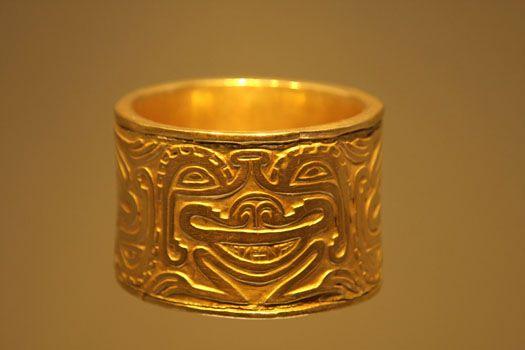 pre-Colombian gold bracelet in Gold Museum in Bogotá, Colombia