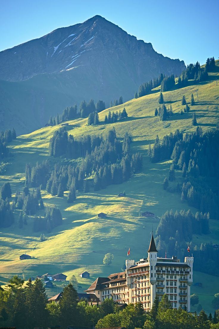 The Gstaad Palace Hotel in the summertime. Switzerland. Photo: Gstaad Palace.