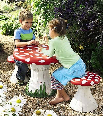 Garden parties are ever more enchanting with this cheerful mushroom table and four matching stools. The hand-painted resin set is equally delightful indoors for games, coloring, homework, snacks, plus arts and crafts. Even better, the stools are sturdy enough to hold adults, so parents can join in on the fun!    For ages 2 and up.     Mushroom Table and Set of 4 Stools together.