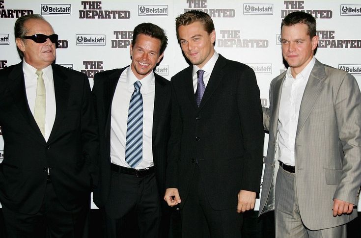 Leonardo DiCaprio, Jack Nicholson, Mark Wahlberg, and Matt Damon at The Departed (2006)