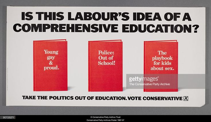 A poster for the British Conservative Party from the 1987 General Election. It depicts three text books with the titles 'Young, Gay and Proud', 'Police: Out of School' and 'The Playbook for Kids about Sex', and the caption 'Is this Labour's idea of a comprehensive education? Take the politics out of education. Vote Conservative'. Poster by advertising agency Saatchi & Saatchi.