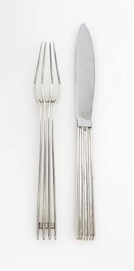 JEAN PUIFORCAT Prototype fork and knife, ca. 1930. silver