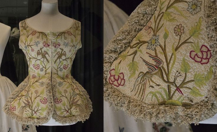 18th century embroidered women's waistcoat. Fashion museum Bath