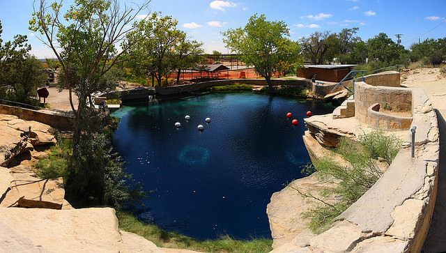 Santa Rosa Blue Hole, New Mexico - Located just off of the famous Route 66 in New Mexico's arid climes is the Santa Rosa Blue Hole, a natural swimming hole that has hides a system of underwater caves which were unexplored until 2013.