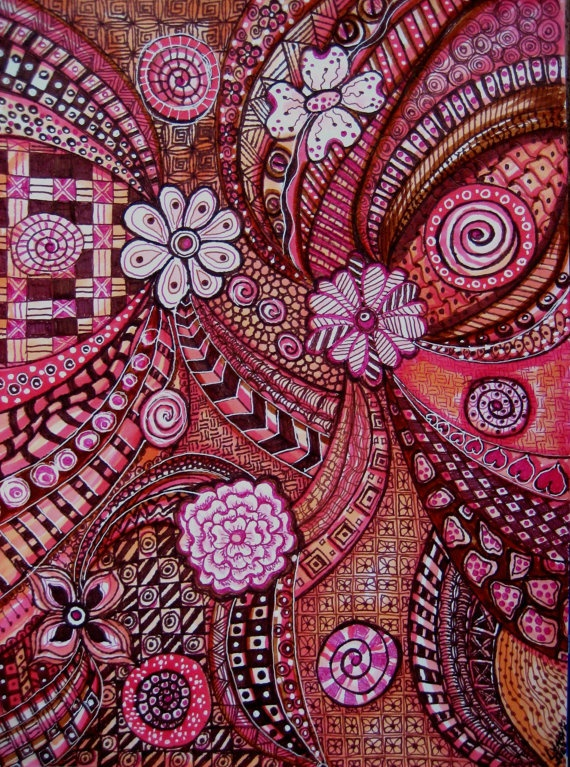 LG 9 x 12 Zentangled Inspired Art Doodle by ArtisticImaginations, $29.00