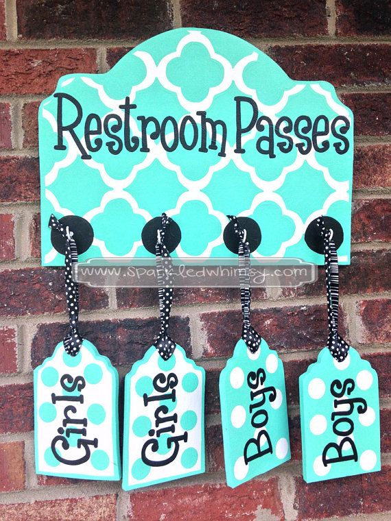 Restroom Passes Sign for Classroom Turquoise by SparkledWhimsy