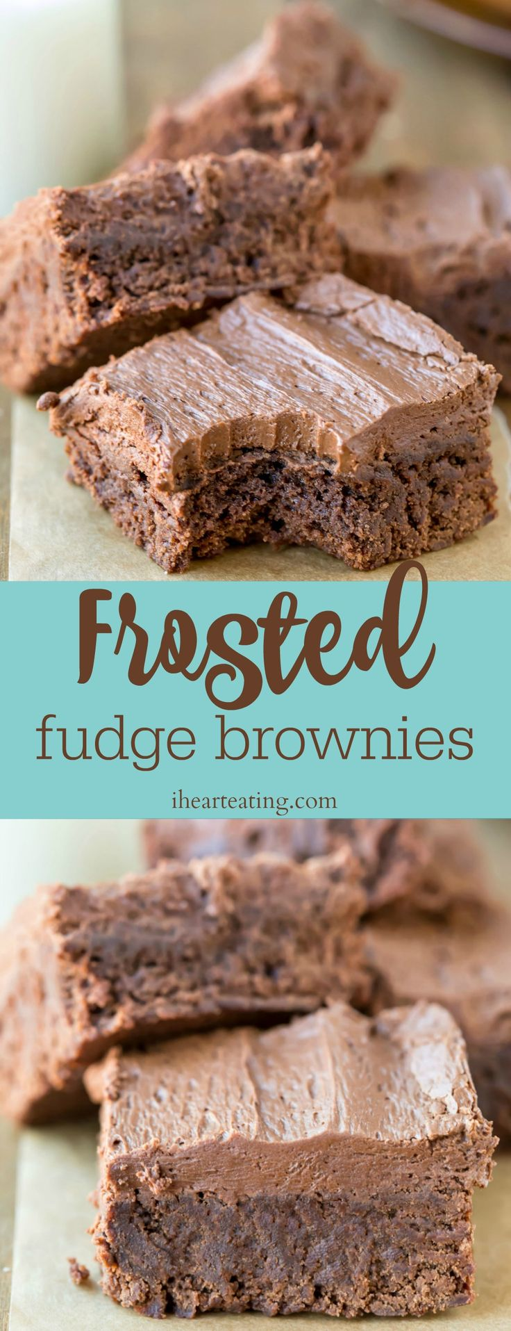 Frosted fudge brownies are chewy fudge brownies that are topped with rich chocolate buttercream frosting. The perfect brownie recipe!