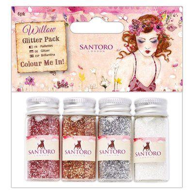 Santoro's Willow Colour Me In Glitter Pack (4pk) - Santoro