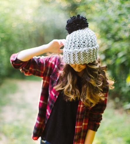 Grey Knit Pom Hat