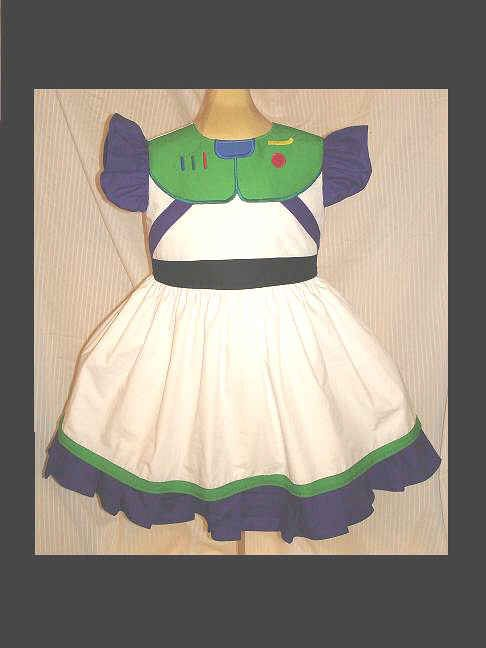 Custom Buzz Lightyear Princess dress(-----)Appliqued Panel Buttons like Buzz's(-----)Sizes 12 Months to Girls size 8. $37.99, via Etsy.