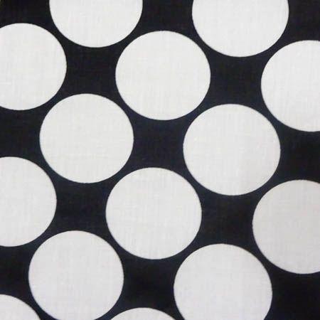 Giant Polka Dot White on Black Poly Cotton Fabric, 60