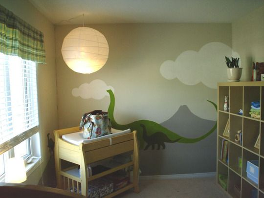 Gar's dream nursery if we have a boy... or a girl, probably.  Paintings a la Dinotopia.