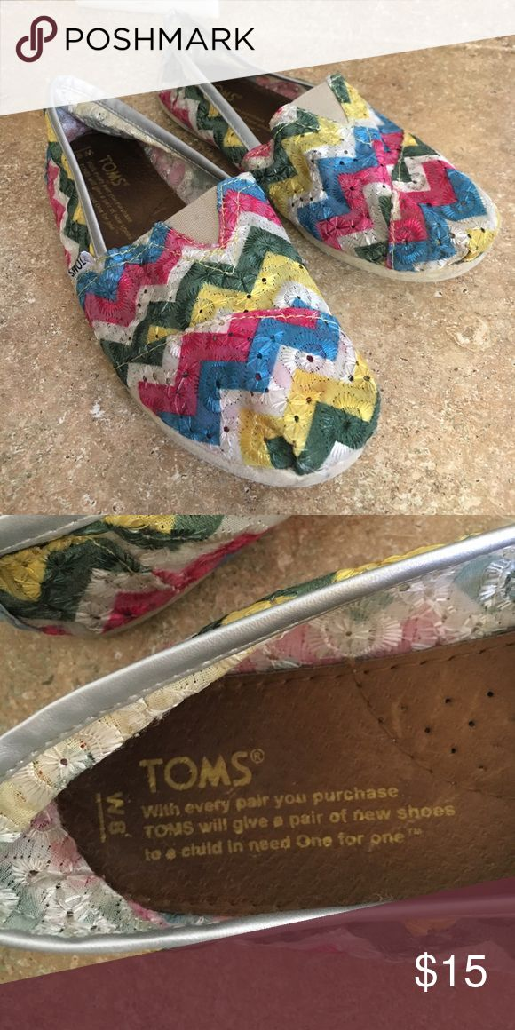 TOMS chevron shoes Pre owned TOMS chevron multicolored shoes TOMS Shoes Flats & Loafers