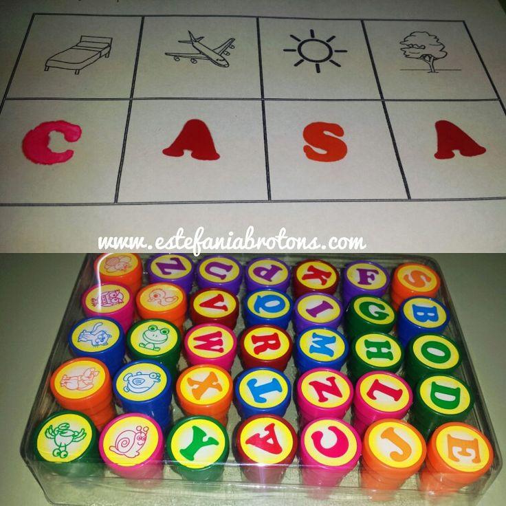 Material para trabajar la conciencia fonológica con sellos