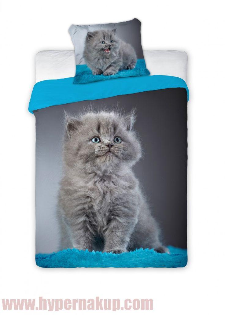 Posteľné bavlnené obliečky  s mačiatkom 140x200cm