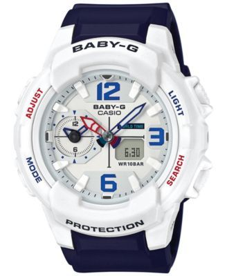 G-Shock Women's Analog-Digital Baby-G Blue Resin Strap Watch 49mm BGA230SC-7B $120.00 G-Shock brings out the red, white and blue with this analog-digital watch, loaded with features from the Baby-G collection.