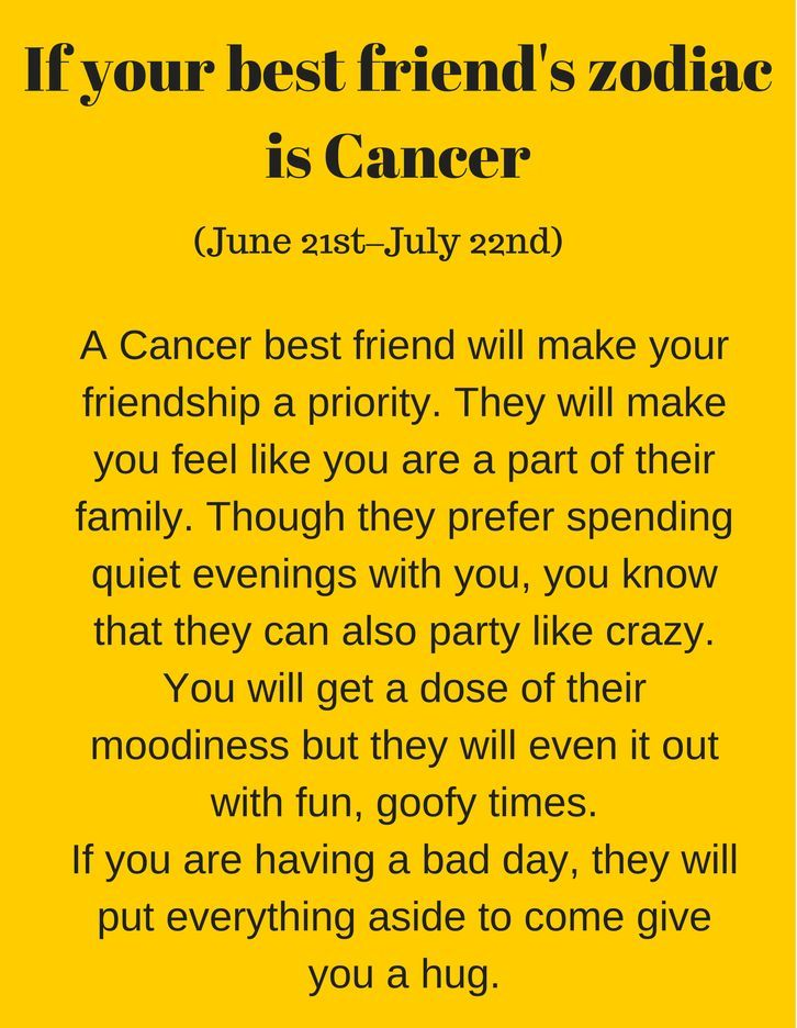 See which zodiac your best friend is and how amazing they are!! Detailed characteristic description of your best bud according to their sun sign.