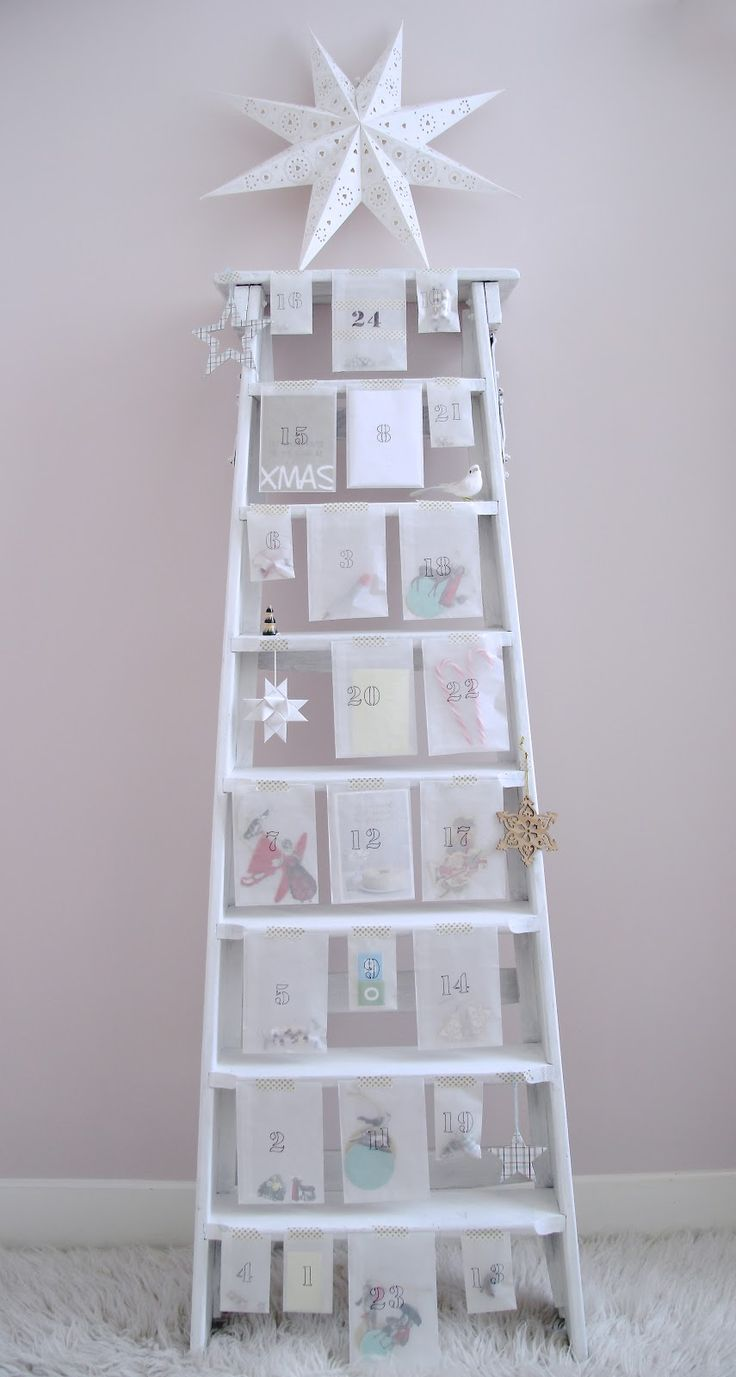 advent calender * - another great use for that old ladder!!    An idea for my friend Fiona