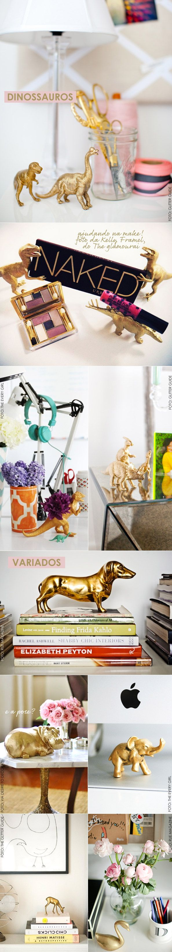 spray paint old plastic toy animals with gold: Sprays, Idea, Craft, Plastic Animals, Spray Paint Plastic, Spraypaint, Diy