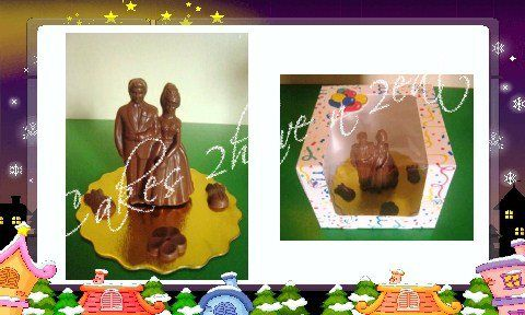 BEAUTIFUL 3D CHOCOLATE BRIDE AND GROOM. WONDERFUL AS A GIFT OR AS A CAKE TOPPER.