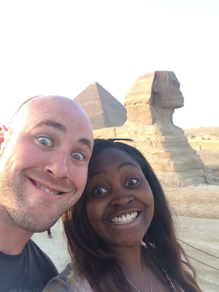 Selfie with the Great Sphinx of Giza in Cairo.