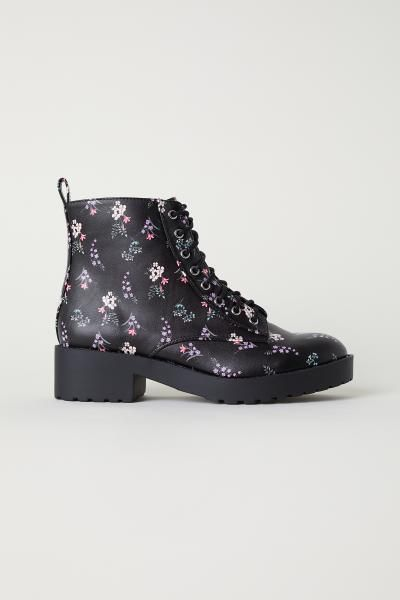 Patterned chukka boots - Black/Floral - Ladies   H&M GB 1