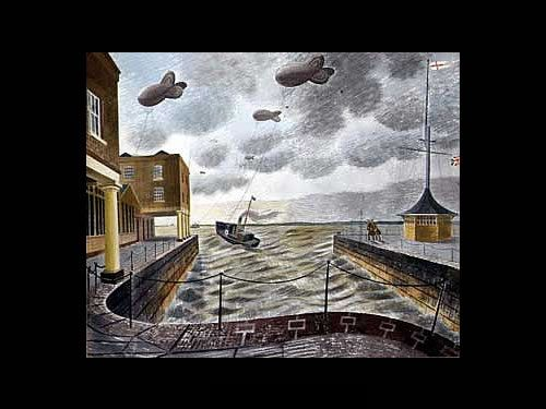 Eric Ravilious (1903-1942). Barrage Balloons Outside a British Port